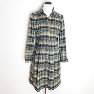 Diane von Furstenberg Wool Plaid Shirt Dress